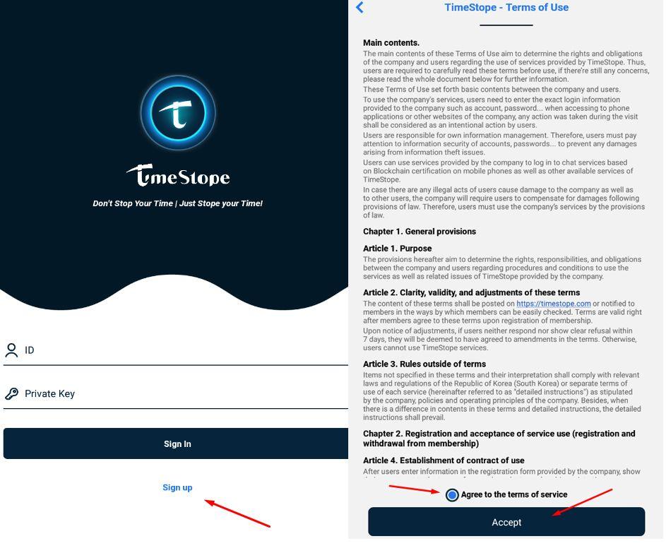 Đăng ký tài khoản TimeStope - Hình 01