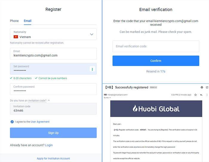 Đăng ký tài khoản Huobi - Hướng dẫn sàn Huobi
