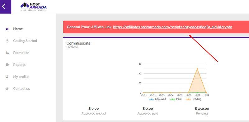Lấy link tiếp thị liên kết | Cách kiếm tiền với HostArmada Affiliate