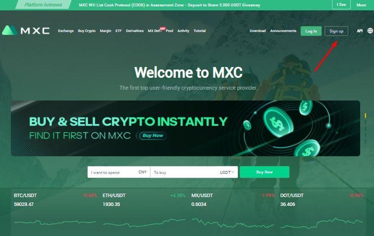 Hướng dẫn đăng ký sàn MXC Exchange - Hình 01
