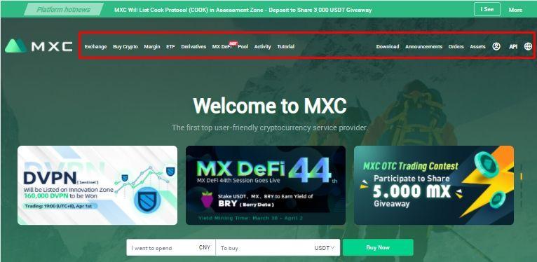 Hướng dẫn sử dụng giao diện sàn MXC Exchange