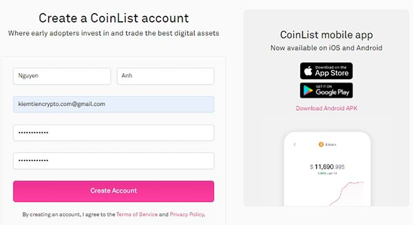 Hướng dẫn sàn Coinlist - Hướng dẫn đăng ký tài khoản sàn conlist