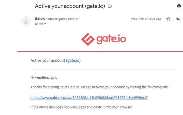 Xác nhận email tài khoản gate.io