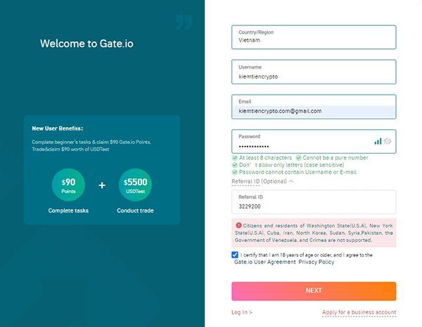 Hướng dẫn đăng ký sàn gate.io