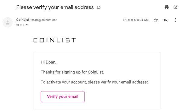 Hướng dẫn sàn Coinlist - Xác thực email tài khoản sàn conlist