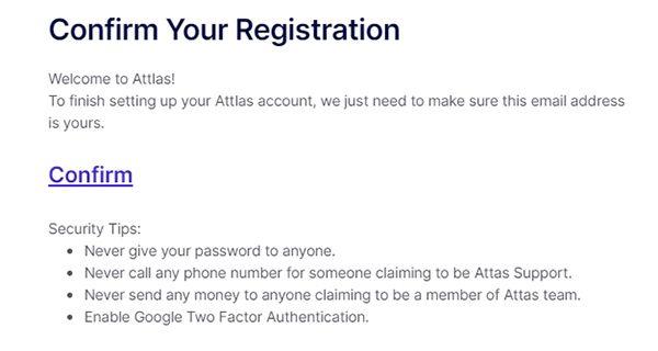Hướng dẫn đăng ký tài khoản Attlas Exchange - Xác nhận email