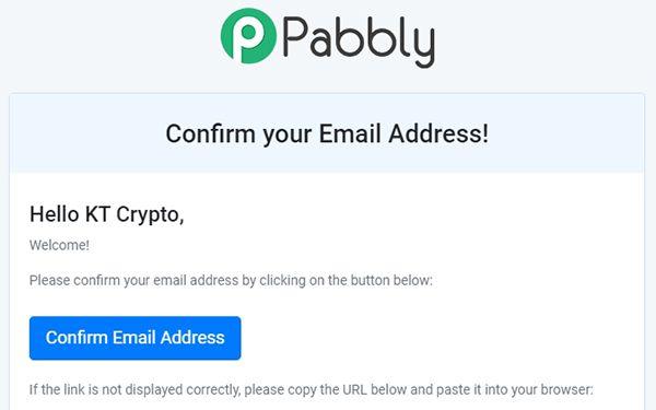 Xác nhận tài khoản Pabbly qua email
